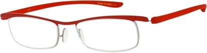 Angle of The Expert in Red/Silver, Women's and Men's Rectangle Reading Glasses