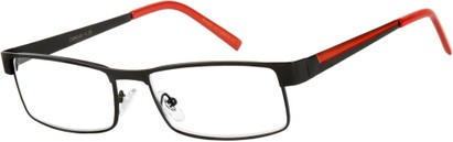Angle of The Grabill in Matte Black/Red, Men's Rectangle Reading Glasses