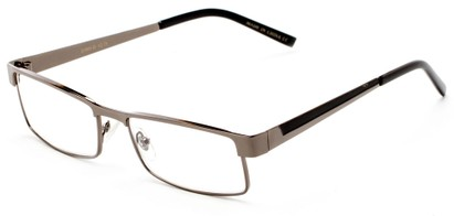 Angle of The Grabill in Glossy Grey/Black, Men's Rectangle Reading Glasses