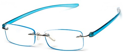 Angle of The Marion in Blue, Women's Rectangle Reading Glasses