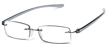 Angle of The Marion in Grey, Women's Rectangle Reading Glasses