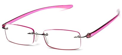 Angle of The Marion in Pink, Women's Rectangle Reading Glasses
