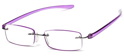 Angle of The Marion in Purple, Women's Rectangle Reading Glasses