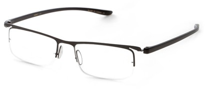 Angle of The Patton in Black/Black, Women's and Men's Rectangle Reading Glasses