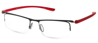 Angle of The Patton in Black/Red, Women's and Men's Rectangle Reading Glasses