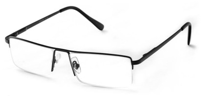 Angle of The Becker in Black, Men's Rectangle Reading Glasses