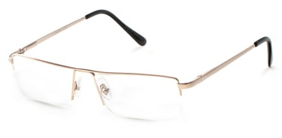 Angle of The Becker in Gold, Men's Rectangle Reading Glasses