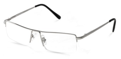 Angle of The Becker in Silver, Men's Rectangle Reading Glasses