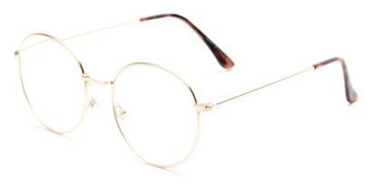 Angle of The Teddy in Gold, Women's and Men's Round Reading Glasses