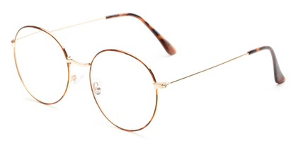 Angle of The Teddy in Tortoise/Gold, Women's and Men's Round Reading Glasses