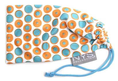 Angle of The Polka Dot Glasses Pouch in Orange and Blue, Women's and Men's