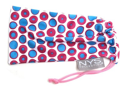 Angle of The Polka Dot Glasses Pouch in Purple and Blue, Women's and Men's