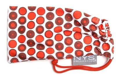 Angle of The Polka Dot Glasses Pouch in Red and Brown, Women's and Men's