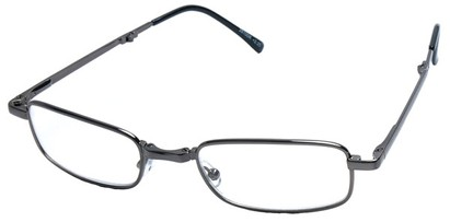 Angle of The Jefferson Folding Reader in Grey, Women's and Men's Retro Square Reading Glasses