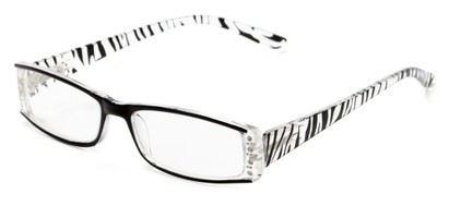 Angle of The Countess in Black Zebra, Women's Rectangle Reading Glasses