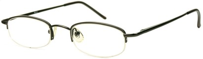 Angle of The Brunswick in Grey, Women's and Men's Oval Reading Glasses