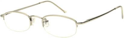 Angle of The Brunswick in Silver, Women's and Men's Oval Reading Glasses