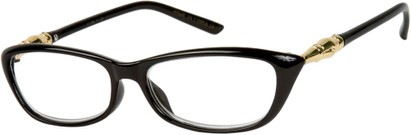 Angle of The Lizzy in Black/Gold, Women's Retro Square Reading Glasses