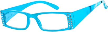 Angle of The Ruby in Blue, Women's Rectangle Reading Glasses