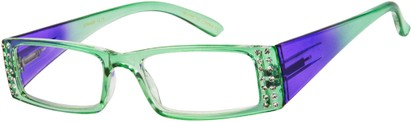Angle of The Ruby in Green/Purple Fade, Women's Rectangle Reading Glasses