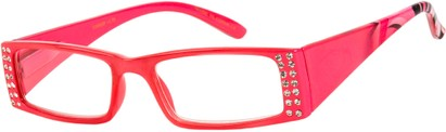 Angle of The Ruby in Pink, Women's Rectangle Reading Glasses