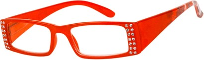Angle of The Ruby in Red, Women's Rectangle Reading Glasses