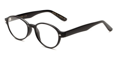 Angle of The Nitro in Glossy Black, Women's and Men's Round Reading Glasses