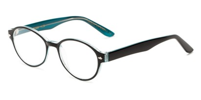 Angle of The Nitro in Glossy Teal/Black, Women's and Men's Round Reading Glasses