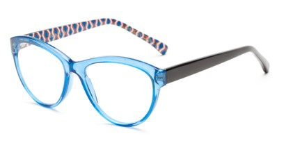 Angle of The Millicent in Light Blue/Black Stripes, Women's Cat Eye Reading Glasses