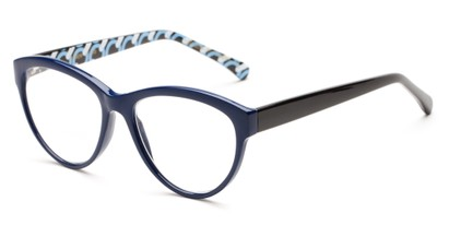 Angle of The Millicent in Navy/Black Rings, Women's Cat Eye Reading Glasses