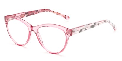 Angle of The Millicent in Pink Floral, Women's Cat Eye Reading Glasses