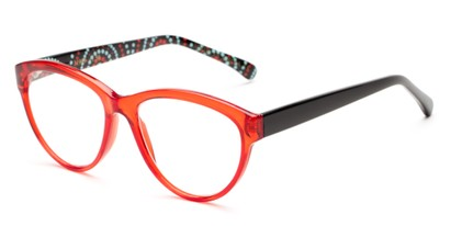 Angle of The Millicent in Red/Black Dots, Women's Cat Eye Reading Glasses