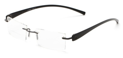 Angle of The Composer Bifocal in Black/Black, Women's and Men's Rectangle Reading Glasses