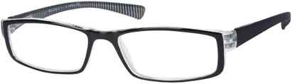 Angle of The Frasier in Black/White Stripe, Women's and Men's Rectangle Reading Glasses