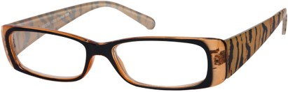 Angle of The Jeanette in Black/Orange Tiger, Women's Rectangle Reading Glasses