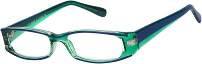 Angle of The Rae in Green and Blue, Women's Rectangle Reading Glasses