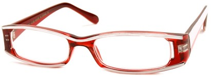 Angle of The Rae in Red and White, Women's Rectangle Reading Glasses