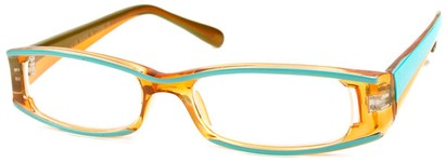 Angle of The Rae in Orange and Turquoise, Women's Rectangle Reading Glasses