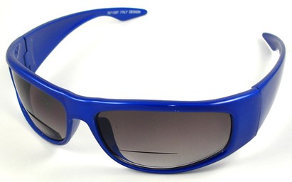 Angle of The Lance Bifocal Reading Sunglasses in Blue with Smoke, Women's and Men's Sport & Wrap-Around Reading Sunglasses