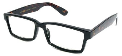 Angle of The Snider in Glossy Black with Tortoise Frame, Women's and Men's