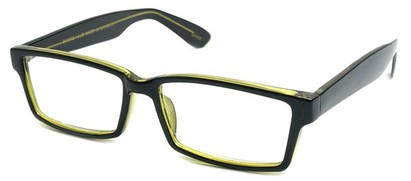 Angle of The Snider in Glossy Black with Yellow Frame, Women's and Men's