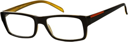 Angle of The Panama in Black/Gold, Women's and Men's Retro Square Reading Glasses