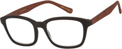 Angle of The Rustic in Black/Brown, Women's and Men's Retro Square Reading Glasses