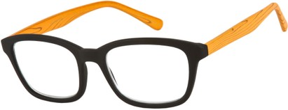 Angle of The Rustic in Black/Orange, Women's and Men's Retro Square Reading Glasses