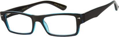Angle of The Kirk in Black/Blue, Women's and Men's Rectangle Reading Glasses