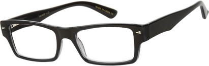 Angle of The Kirk in Black, Women's and Men's Rectangle Reading Glasses