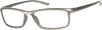 Angle of The Eddie in Matte Silver, Women's and Men's Rectangle Reading Glasses
