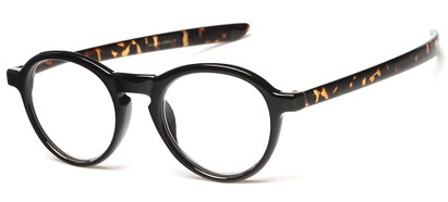 Angle of The Warhol in Glossy Black/Brown Tortoise, Women's and Men's Round Reading Glasses