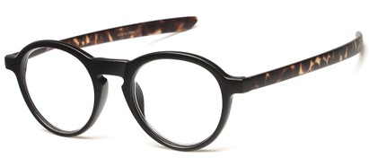 Angle of The Warhol in Matte Black/Brown Tortoise, Women's and Men's Round Reading Glasses