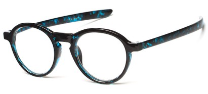 Angle of The Warhol in Blue Marbled, Women's and Men's Round Reading Glasses